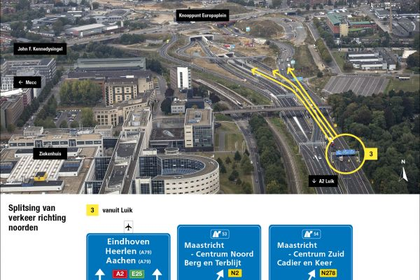 Vroegtijdig splitsen van verkeer - A2 ANWB borden Facebook richting Noorden.jpg