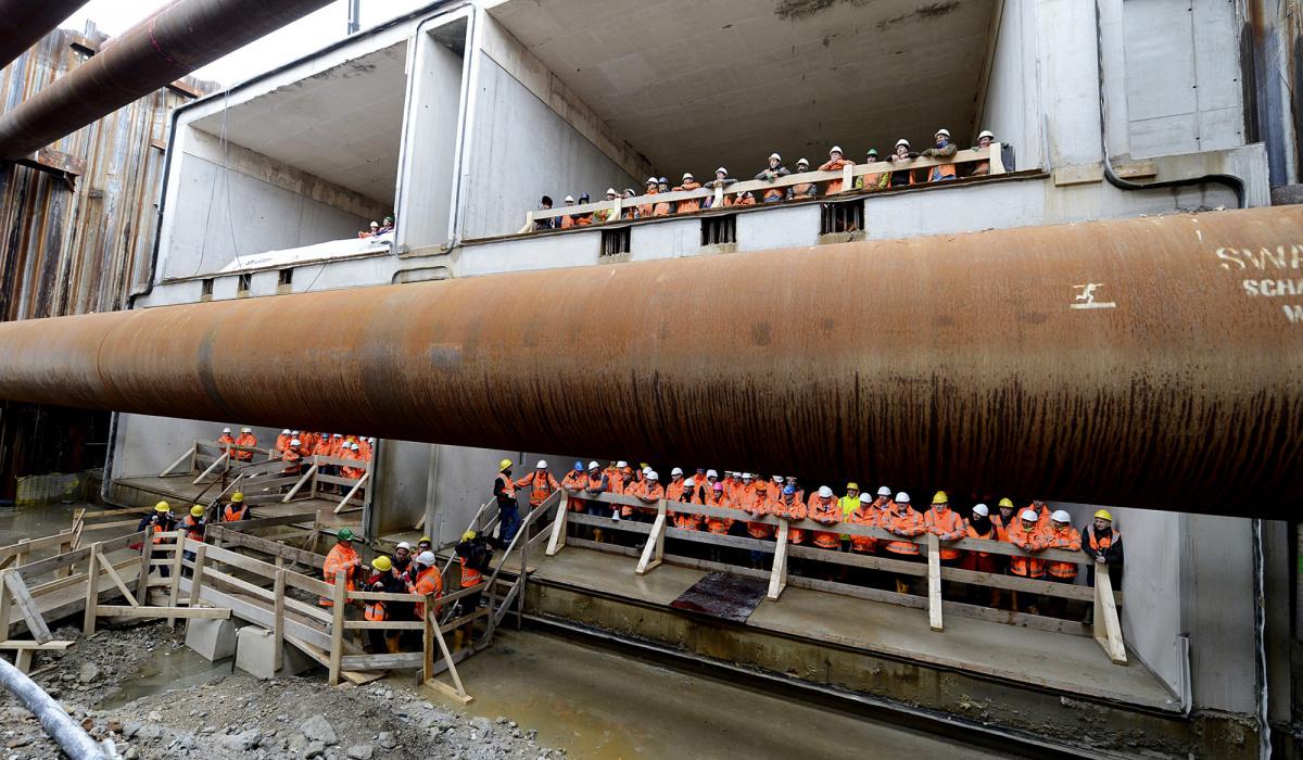 Dwarsdoorsnede: 2x2 tunnelbuizen zichtbaar. © Peter Wijnands