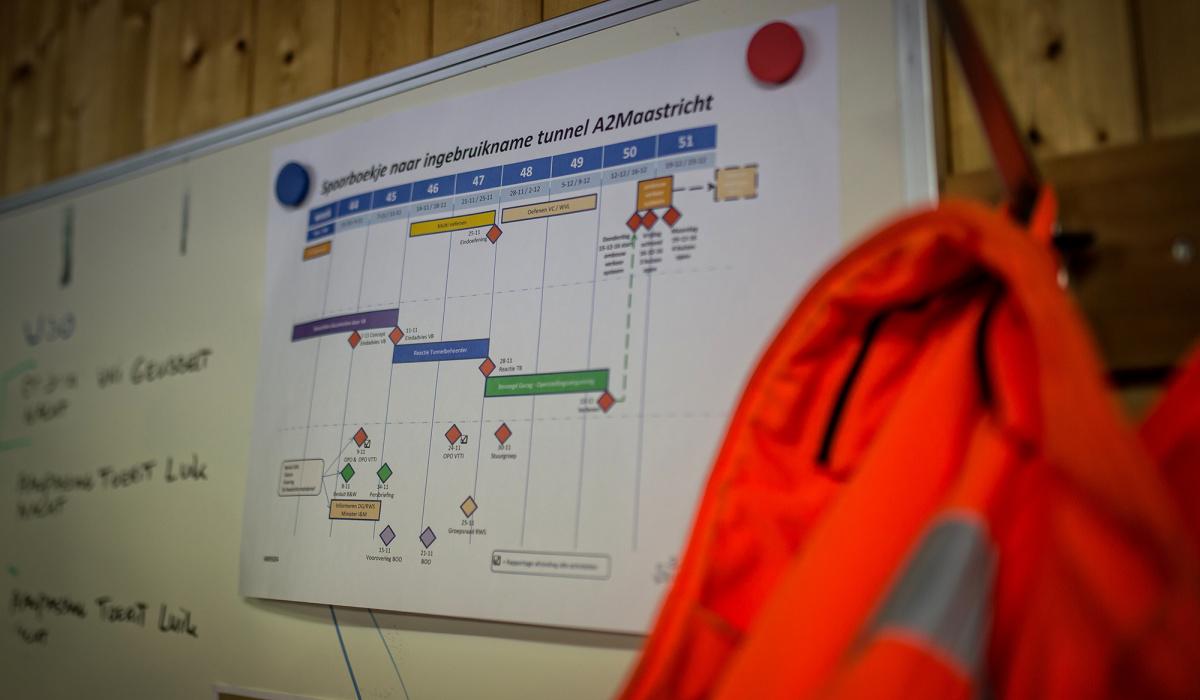 Planning voor de ingebruiknamenacht van de tunnel. © Aron Nijs