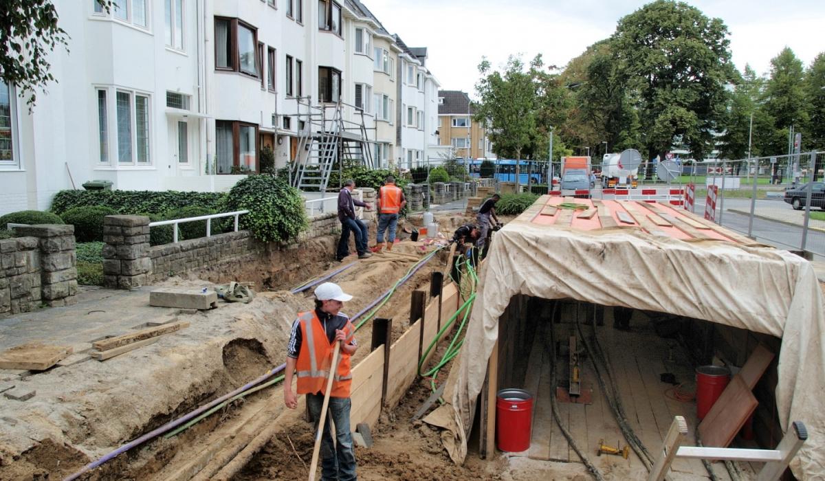 Kabel- en leidingwerk bij Oranjeplein-Oost. © Reen van Beek