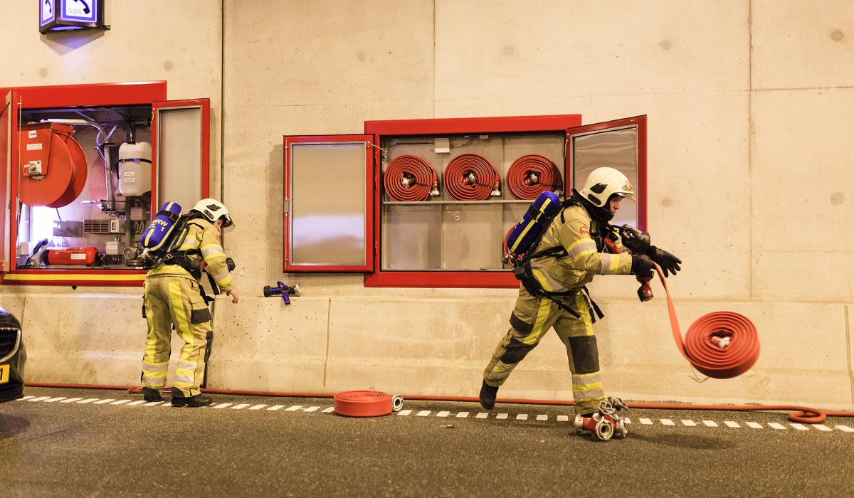 Oefenen in de Koning Willem-Alexandertunnel. © Fred Berghmans